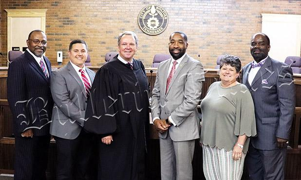 From left to right: Tommie Woods defeated incumbent Jonathan Joy, Dylan Hill defeated Joyce McKinnie Woods, Denton, Mayor Julian McTizic, incumbent Suzanne Rhea, and incumbent Melvin Golden.