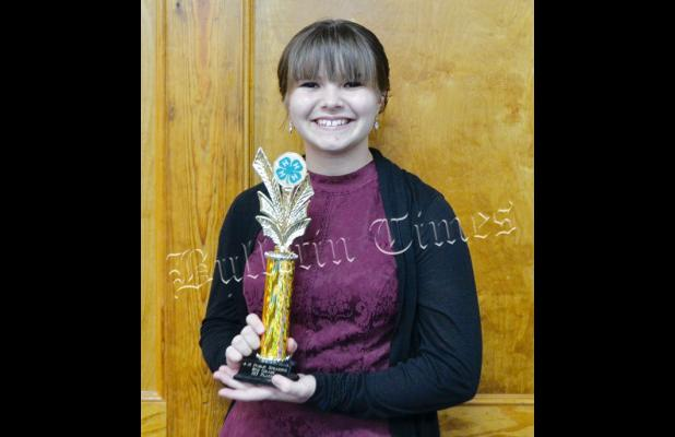 """Ella Willis, an 8th-grader at Middleton Middle School, won the Hardeman County 4-H Public Speaking Contest and advanced to the sub-regional competition. Willis' subject was """"Things that make me happy."""""""