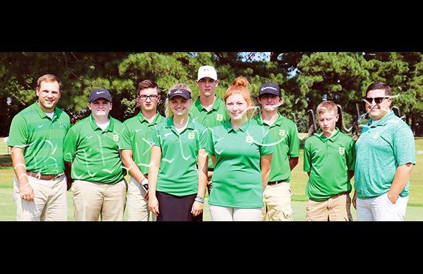 Left to right: Head Coach Jordan Stack, Tyler Pierce, Dayton Rowland, Libbie Smith, Drew Ubelhor, Alora Lax, Cody Vales, Claydon Spain, Assistant Coach Dylan Hill.