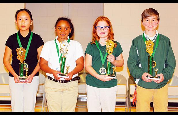 Bolivar Elementary School (left to right): 4th – Sarah Vang, 3rd – Jaliyah Woods, 2nd – Elizabeth Floyd, 1st – Kyle Hammons