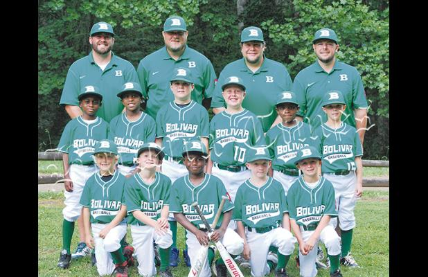 Bolivar 8U All-Stars Front Row (l-r): Tripp Malone, Jake Kelly, JaCory Stanley, Carter Tranum, Devin Woods; Middle Row (l-r): DJ Tate, CJ Sain, Trevor Gilliam, Kaynon Swift, Kingston Golden, Will Zawacki; Back Row Coaches (l-r): Russ Kelly, Tim Malone, Stacey (Moose) Swift, Ryan Zawacki.