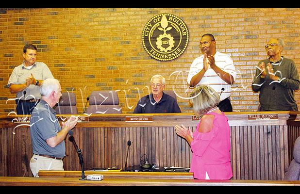 All members of the city council and many who attended the meeting gave Mayor Stevens a standing ovation at the conclusion of his remarks.