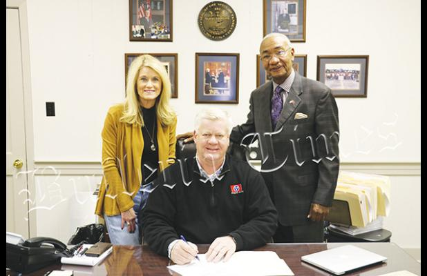 Photo left to right: Janice Bodiford, Hardeman County Clerk and Master, Hardeman County Mayor Jimmy Sain, and Tennessee State Representative Johnny Shaw.