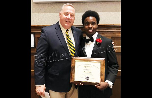 Bolivar Central football player Daniel Lake received a scholar-athlete award from the National Football Foundation.  Previous winners of the award from Bolivar Central are Mason and Mitch Ross. Lake is pictured with Hardeman County Superintendent of Schools Warner Ross.