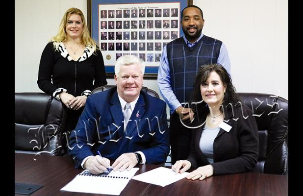 Mayor Sain, Mayor McTizic, and Chairperson Garrison with the West Tennessee Regional Coordinator of Public Affairs for the Tennessee Department of Agriculture, Colleen Coury.