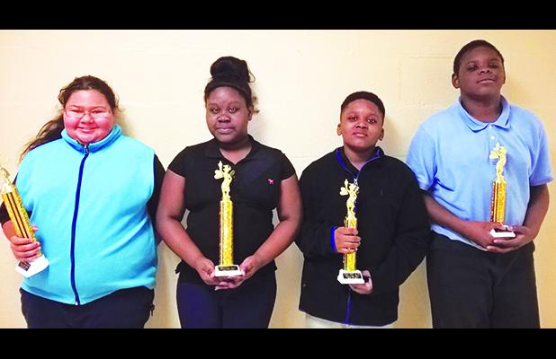 Grand Junction Elementary (left to right): 1st Cheyenne Burnette, 2nd Rickia Williams, 3rd Tristian Crawford, 4th Early Lewis