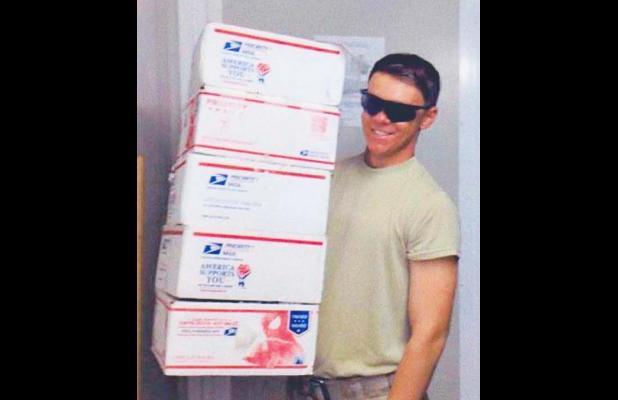 Spc. Joe Dalton Sweatt of Middleton, deployed in Afghanistan, received six boxes of goodies.