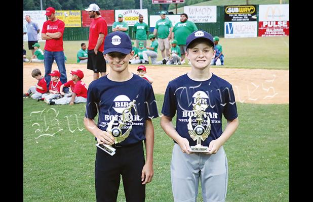 Devin Woods (left) was given the pitching award, while Jake Kelly (right) won the hitting trophy.