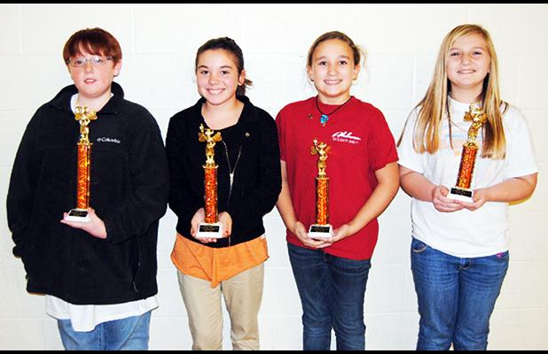 Middleton Elementary School (left to right): 1st place – Nathan Daniel, 2nd place –Maddie Willis, 3rd place – Caitley Mott, 4th place Chloe Robinson.