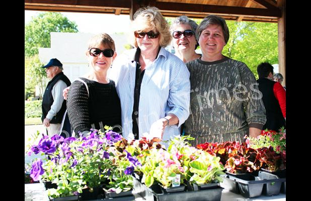 Photo: Hardeman County Master Gardeners Julie Fisher, Mary Boals, Jewell Reid, and Charlene Sipes. Photo by Ginger Tester.