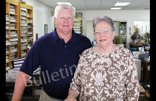 Mary Powell with Mayor Sain. Powell has been the Hardeman County Trustee since 1989, and has won re-election seven times.