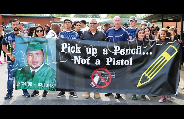 Hardeman County Sheriff John Doolen and Bolivar Police Chief Pat Baker both attended an anti violence march on May 8, organized by the families related to Michael Ruiz.