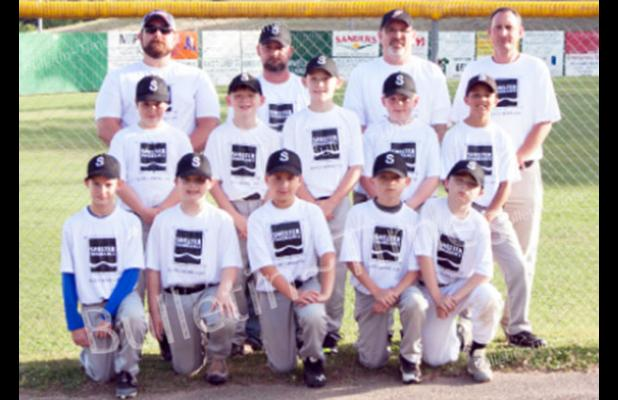 Shelter Insurance front row left to right: Hudson Jackson, Chase Vaughn, Caleb Sowder, Garrett Thompson, Trevor Sweat. Second row: Braden Trotter, Matthew Edwards, Hunter Wilson, Owen Boyd, Jayden Kessler. Back row coaches: Jason Wilson, Charlie Thompson, Matthew Edwards, and Jody Jackson.