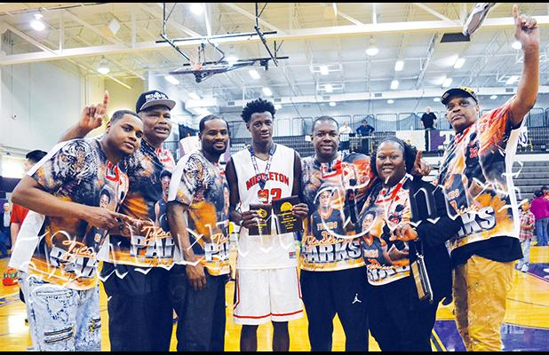 Parks with family and fans after being named MVP of the district tournament and regular season in 14A. Parks was also named to the all-academic team as well.