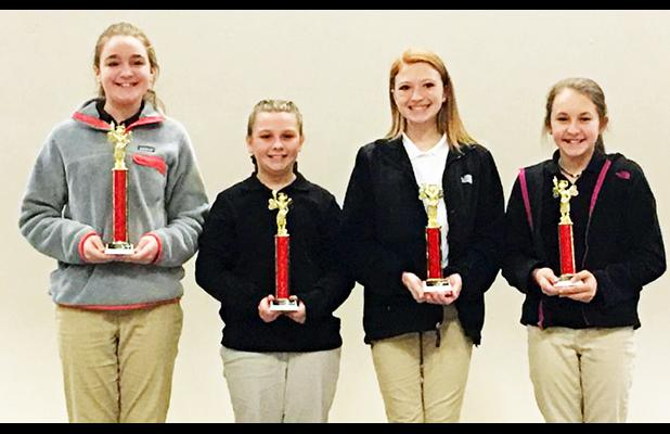 Toone Elementary School (left to right): 1st Place – Alexis Williams, 2nd Place – Emmy Piefer, 3rd Place – Lily Reid, 4th Place – Alexx Sterling
