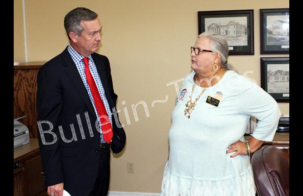 Tennessee Secretary of State Tre Hargett and Hardeman County Administrator of Elections Amber Moore. Hargett visited the Hardeman County Election Commission on October 20 during early voting hours.