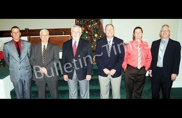 Former pastors of West Memorial Baptist Church Bruce Coleman, Randy Latch, David Chappell, Mark Duggin, current interim Pastor Adam Holloway, and Minister of Music for the last 32 years, Stephen Wood.
