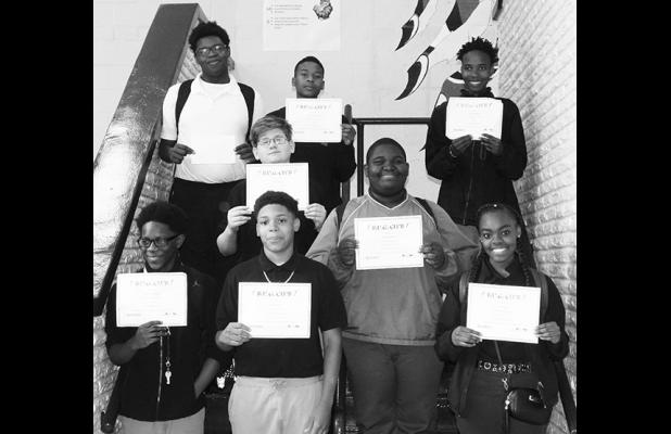 First Row: Quinterio Williams, Edtavius Gray, and Don'kejah Coby. Second Row:  AJ Wilbanks, and Antavious Rivers. Third Row:  Datavion Dubose, Emmanuel Williams, and Tarmadre Harris Photo and cutline by Tina Cranford.