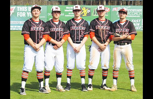 Mills has coached the group of seniors he has since they were in seventh grade. Left to right: Clay Dixon, Cameron Jackson, Tyler Bizzell, Hunter Dickey, and Billy Caicedo. Photo by Karlie Mills.