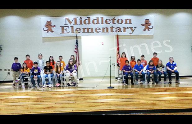 The twenty participants in the Middleton Elementary School Third Grade Spelling Bee are shown as they assembled for the competition which was held on Thursday March 10 in the school's gym.