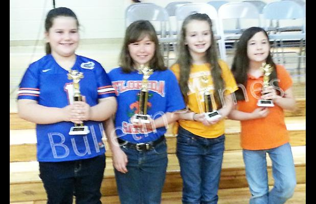 Pictured at left, winners of the Middleton Elementary School Third Grade Spelling Bee were (l-r) first place Addie Cumberland, second Kayla Druien, third Brooklyne Crocker, and fourth Emma McArthur. Contestants spelled their way through over a hundred words before Cumberland emerged as the overall champion.