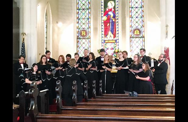 The Freed-Hardeman University Concert Chamber Choir sang at St. James Church. Photo by Ginger Tester.