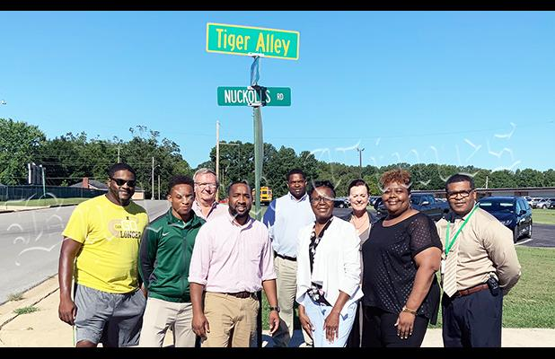 "The City of Bolivar and the Hardeman County Schools officially named the streets at the corner of Butler and Nuckolls ""Tiger Alley"" on August 29. Photo by Sarah Rice"