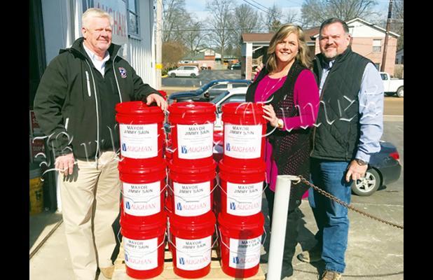 Hardeman County Mayor Jimmy Sain, Janna Vaughan, Greg Vaughan.