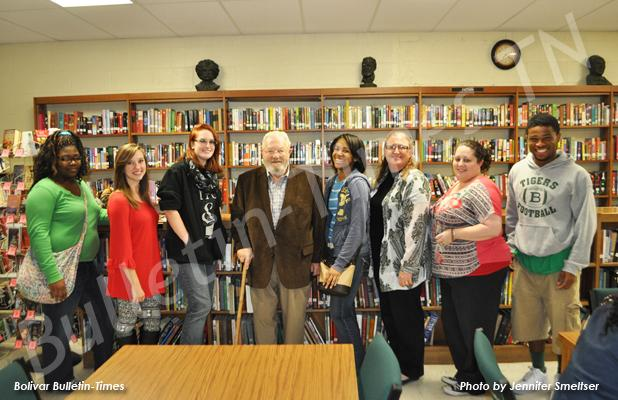 Members of the BCHS Book Club pose with Clark Blatteis, who spoke about his voyage on the St. Louis. Pictured (l-r): Charity Jones, Brianna Moore, Katrina Tull, Clark Blatteis, Adasia Jones, English teacher Terri Tims, United States history teacher Jessica Kennedy and Trezon Peoples.