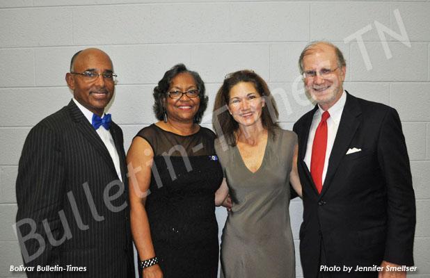 Pictured, (l-r), Hardeman County Mayor Willie Spencer, Dixie Spencer, Kathy Ledbetter and Scott Ledbetter.