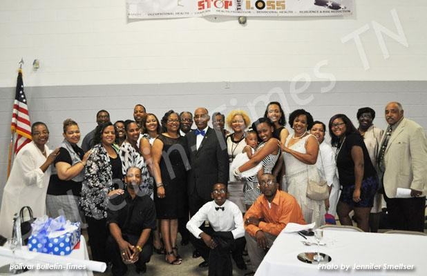 Hardeman County Mayor Willie Spencer was joined by family for his appreciation banquet. Pictured, front row, (l-r), Willie Hunter, Brandon Spencer and Larry Harris. Back row, (l-r), are Eunice Spencer, Linda Price, Bill Irons, Karen Hunter, Florida Irons, Brenda Long, Herbert Cummings, Adrienne Cummings, Dixie Spencer, Percy Hunter, Willie Spencer, Barbara Hunter, Yolanda Giddens, Reagan Spencer, Taylor Spencer, Brandi Spencer, Carolyn Morrow, Stephanie Harris, Breanna Giddens, Debora Spencer and Hugh Spenc