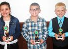 4-H public speaking contest winners fourth grade pictured (l-r): Maddie Willis (first place), Avery King (second place), and Jonathan Banks (third place).