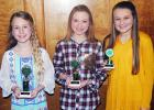 4-H public speaking contest winners seventh grade pictured (l-r): Gracie Swift (first place), Lily Reid (second place), and Reese Mayfield (third place).