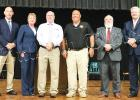 WMOD, The Bulletin Times and the Hardeman County NAACP hosted the county debate on July 10 at Bolivar Central High School. Left to right: Bolivar Police Chief Pat Baker, Kandy Shackelford, Toone Police Chief Jerry Siler, Hardeman County Sheriff John Doolen, Calvin Howell, and Hardeman County Mayor Jimmy Sain.