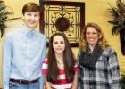 Pictured (l-r): Jake Cocke, Ragen Morris, and Tammy Bowling, geography bee sponsor