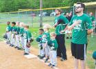 David Dorris Logging honors America during the National Anthem. They beat ProtecStor 5-4 in the opening night for the 6U division.