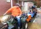 "Children of West Memorial Baptist Church are treated to a ""train ride"" at the annual Fall Festival. The event featured eleven games and activities including face painting, balloon pop, and a cake walk."