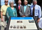 Pictured (l-r): Bolivar City Mayor Barrett Stevens, Bolivar Historic Commission Chairwoman Monita Carlin; CEO of DevCo Steve Hornsby and Herbert Wood and Rex Brotherton of the Hardeman County Chapter of Sons of Confederate Veterans stand behind the newly placed Tennessee Civil War Trail marker.