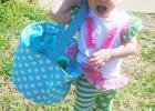Jovie Wade, 18 months old, searches for Easter eggs.