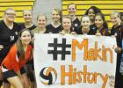 The unparalleled success of the M.H.S. Volleyball Team and last week's victory are not only monumental, but history in the making. The Lady Tigers are making both MHS history, as well as Hardeman County history, as this is the first time for a volleyball team to make it beyond the district level. Pictured front row (l-r): Sydney Russell, Morgan Mills, Kayleigh Lanier, Megan Leslie, Carmen Manzano, Haley Maccarino and Talandra Sain.  Back row (l-r): Ashleigh Agee, Jazmine Cosby, Polly Dowty, Christian Woods