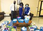 The Zeta Phi Beta Sorority donated over $500 of hand sanitizer, disinfectant spray, sanitizing wipes and other supplies to help with Covid-19 protocols. Dr. Yvonne Allen and member Dixie Spencer delivered the supplies on Tuesday, February 4 to Principal Cedric Crisp on behalf of Zeta Phi Beta Sorority.