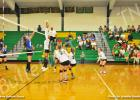 BCHS Lady Tiger Kyrayla Hunt (right) goes up for the block against Chester County Eagle Madison McCaskill (left).